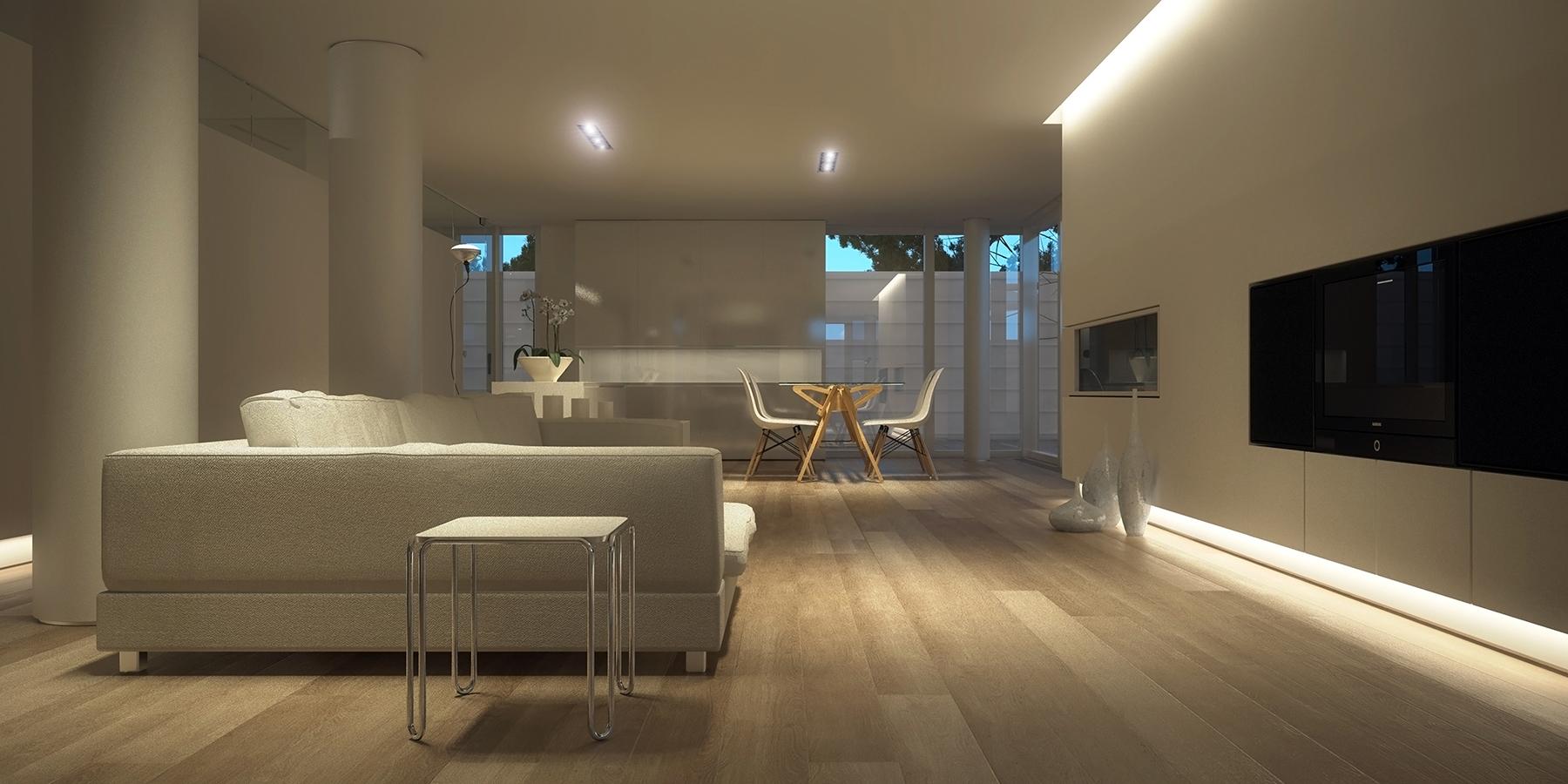 LED lit white family room interior